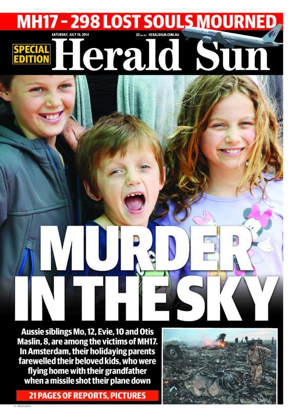 Aussie siblings age 12, 10 and 8 among #MH17 victims. Flying with grandfather, parents still in Amsterdam http://t.co/11eKDcPQIc