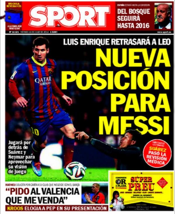 Lionel Messi set for a deeper role under the tutelage of new Barcelona boss Luis Enrique [Sport]