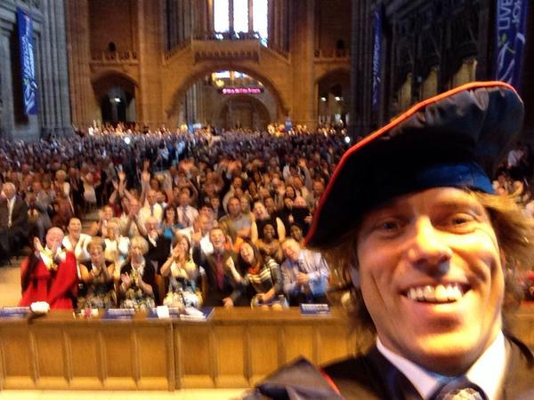 Now this is a selfie of the Day! @JohnBishop100 receiving his honorary fellowship @LJMU #topman http://t.co/9uja4Bqh5D