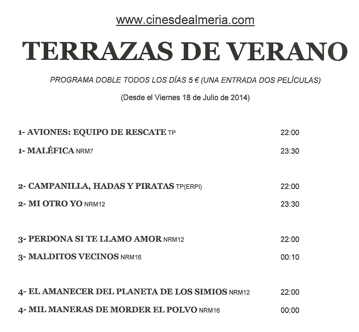 Cartelera Terrazas De Verano De Aguadulce, Desde Le 18 Jul. Más Info En