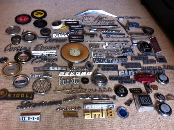 In the early 70s my dad ran cars on a shoestring which meant trips to scrap yards. He got parts, I liberated badges http://t.co/3NolT8dSI2