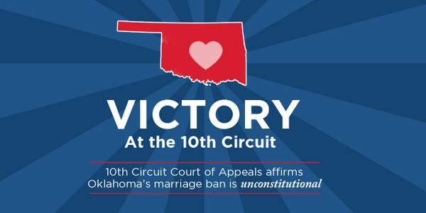 BREAKING-10th Circuit affirms Oklahoma marriage ban is unconstitutional http://t.co/7QhBjsBMJT RT to spread the news http://t.co/9XSyYEmN2J