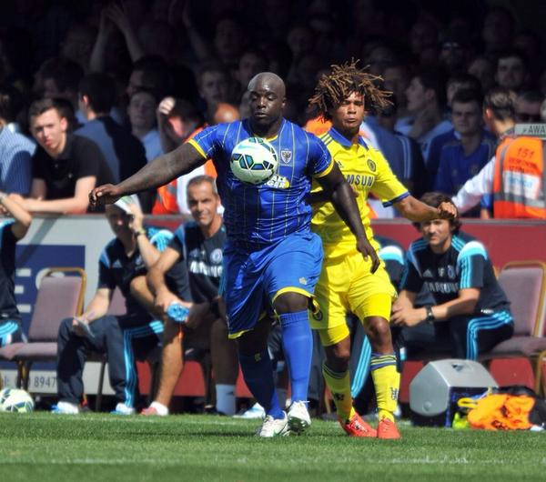 BEAST MODE: Akinfenwa looked like an NFL professional next to Chelseas players [Pictures]