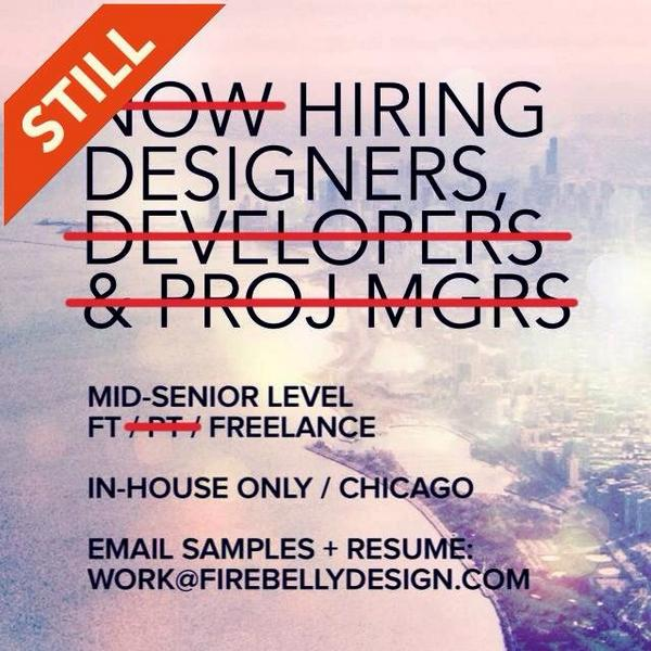 Still hiring designers: exp in lrg scale branding prgms, ux+web design, campaigns + on point type skills! #designjob http://t.co/vgrvfLx8A8