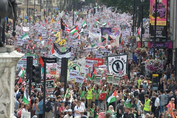 #c4news This London #Gaza protest pic greeted by joyous disbelief here. 'It'll embarrass Arab countries' one man said http://t.co/S3sSjzr1Bu