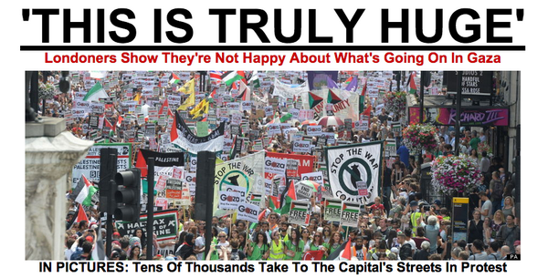 'THIS IS HUGE': Incredible pics from #protest in #London right now #Gaza #Palestine #Israel http://t.co/3mUQzxX7Ev http://t.co/nJwuUJvJeX