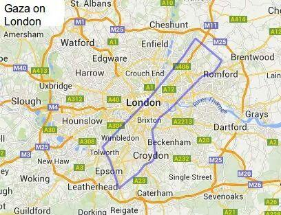 Gilad Isaacs on Twitter Map of Gaza superimposed on London Fits