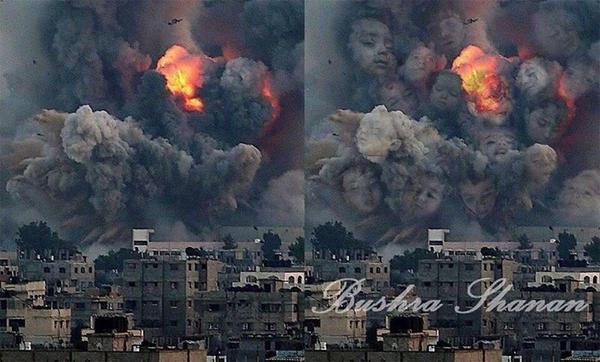 فنانه فلسطينية تجعل صور التفجيرات تعبر عن ضحاياها الأطفال #غرد_بصورة http://t.co/urPs3wioe8