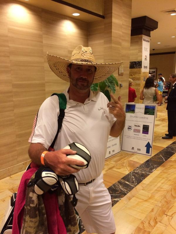 If this gets 200 RT's my caddie will wear this sombrero again tomorrow! @ACChampionship @GolfChannel @ESPNNFL http://t.co/MP5Ca5ZOYe