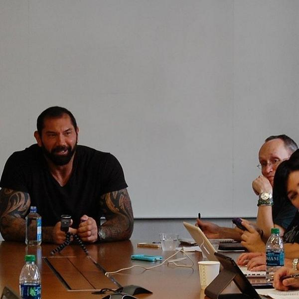 Interviewing @davebautista today for the @guardians movie,  he was more soft spoken than I would guessed #guardia... http://t.co/ckSW2RWviE