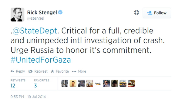 Obama State Dept Richard Stengel, tweets-deletes #UnitedforGaza