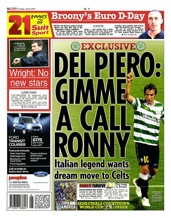 Brilliant transfer rumour! Alessandro Del Piero wants to play for Celtic!