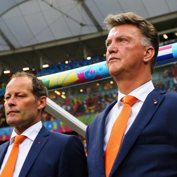 Louis Van Gaal's decision-making has proven to be key during the Netherlands' run. (@BarclaysLeague/Twitter)