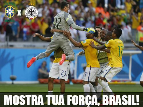 MOSTRA TUA FORÇA, BRASIL! Daqui a pouco tem Brasil x Alemanha. #EmBuscaDoHexa http://t.co/zfAz7NHJjk