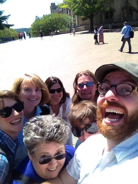 #SBCWest14 organizer selfie in front of Vista Way....a mountain of science librarians w/ Mt. Rainier! http://t.co/VnZ8MmaBnP