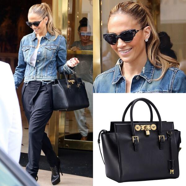Jennifer Lopez Tm On Twitter Versace Stylish As Always Jlo Takes Paris With A Black Lock Bag And Sungl