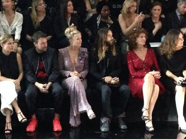 Interesting mix in the front row, Armani Prive. Francesco Vezzoli, Kate Hudson, Jared Leto, Sofia Loren http://t.co/6RO3mpJWCx