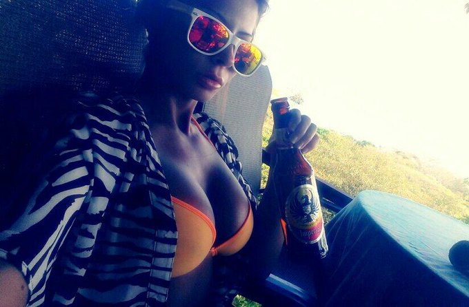 #Beer & #Boobs #Selfie :P #IWishUWereHere http://t.co/vfJrGCRdj0