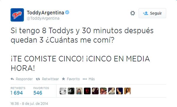 El genial tweet de @ToddyArgentina que ya obviamente borraron!!! Imperdible!!! http://t.co/wYoa2amWDG