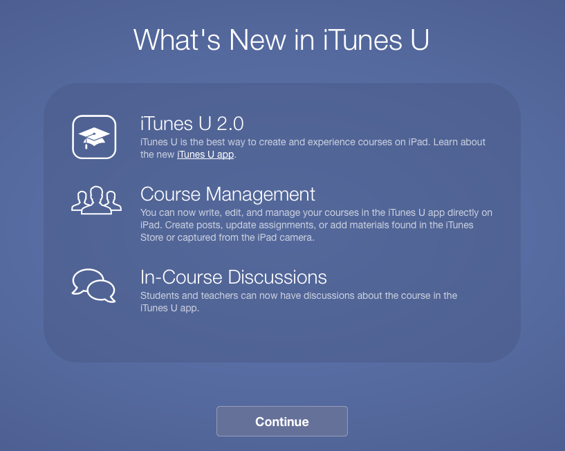 Twitter / gavinsmart: Update to iTunes U has arrived. ...