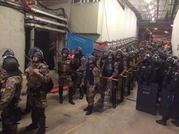 Seeing that much security in riot gear around the stadium is not unusual. Seeing it in the tunnel of the stadium is. http://t.co/Tad76AqZz0
