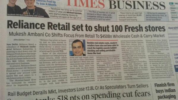 A day after Carrefour quits India, this - http://t.co/g7UKKxNRcP