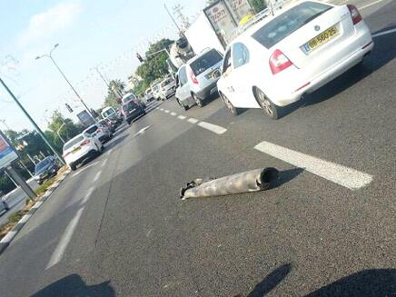 Rocket fragments in Nes Ziona street