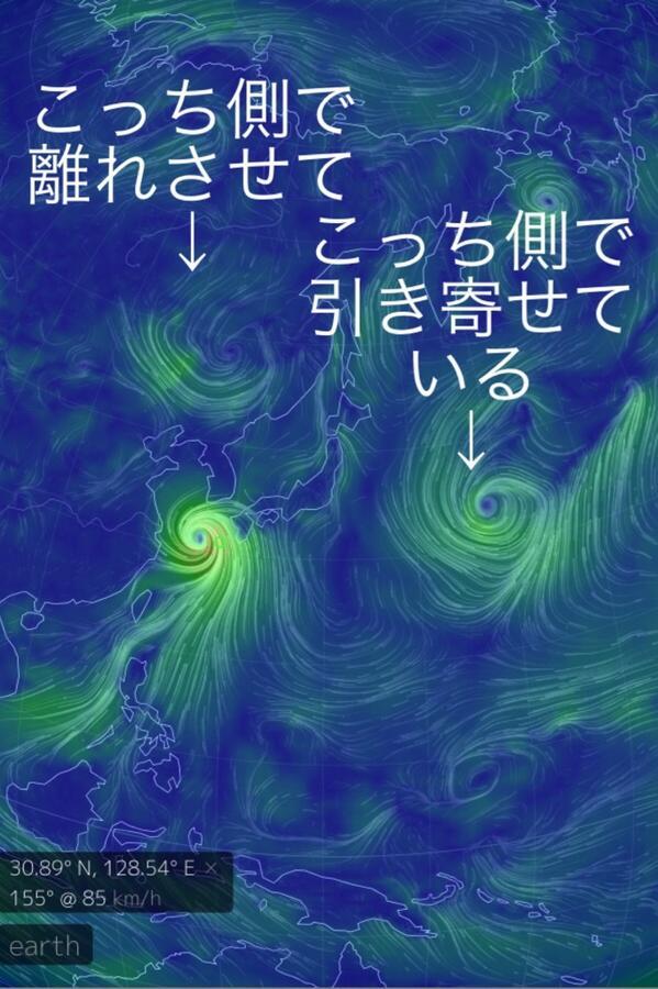 何故この状態から日本列島へ近付くのか分からない方は図を見ればどの様に台風をコントロールしているか分かるでしょう。 http://t.co/YMh7JLM9e0