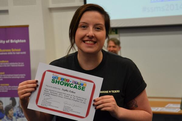Sophie Cohen @SofiC01 receiving her certificate at Student Social Media Showcase #ssms2014 #brightsoc http://t.co/6EKrG24AXQ