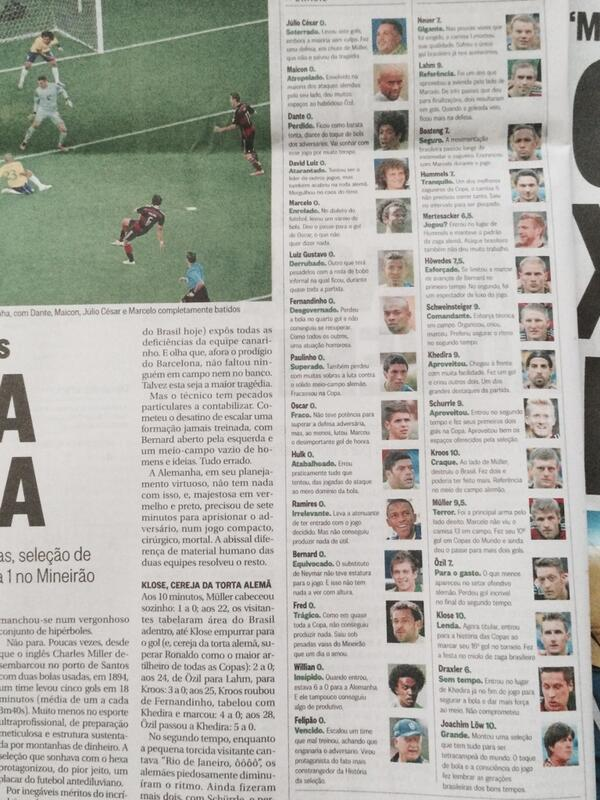 Pic: Brazilian paper gives every player a zero for last night