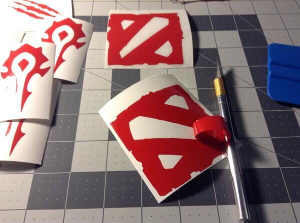 Made some dota2 car phone decal stickers getting ready for ti4