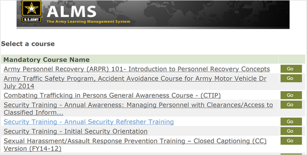 Alms Army Training Images
