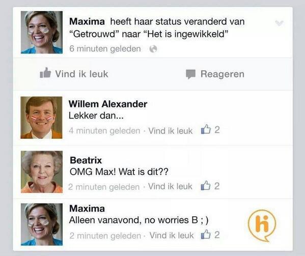 Maxima heeft zojuist haar Facebook status gewijzigd ;-) #NEDARG http://t.co/OEO9sCXHKm