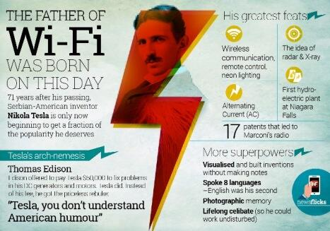 Genius who invented wi-fi & alternating current #Tesla #tesladay #NikolaTesla #wifi #alternatingcurrent #invention http://t.co/OjxFAjSNps