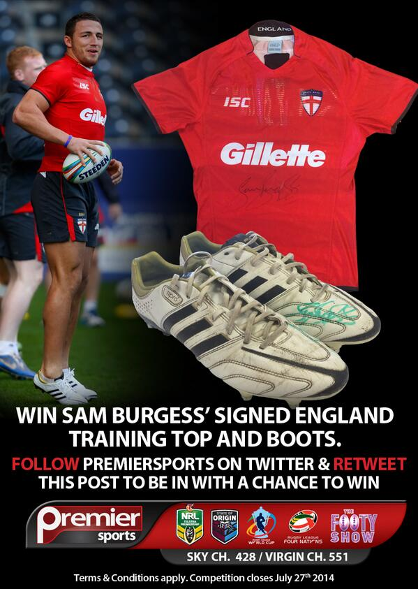 Win @SamBurgess8 signed England Top and Boots worn during RLWC2013. Retweet and follow @PremierSportsTV to enter. http://t.co/uXKcbuughk