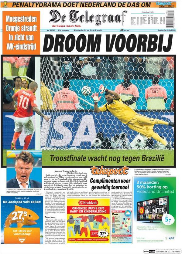 "#MaximaTristeza #Ned La tapa de De Telegraaf ""Final de consuelo contra Brasil"""
