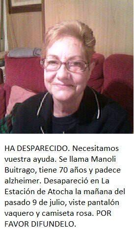 Os pido un poco de ayuda urgente. Rt por favor.  Mujer desaparecía ayer en atocha.  Si alguien la ve. Avisar al 112 http://t.co/eoqizVR9Fv