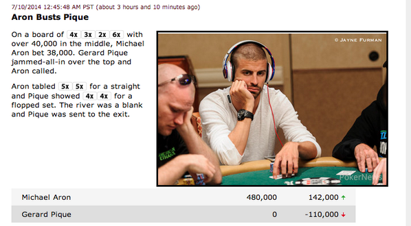 Gerard Pique knocked out of World Series of Poker by delighted football fan!