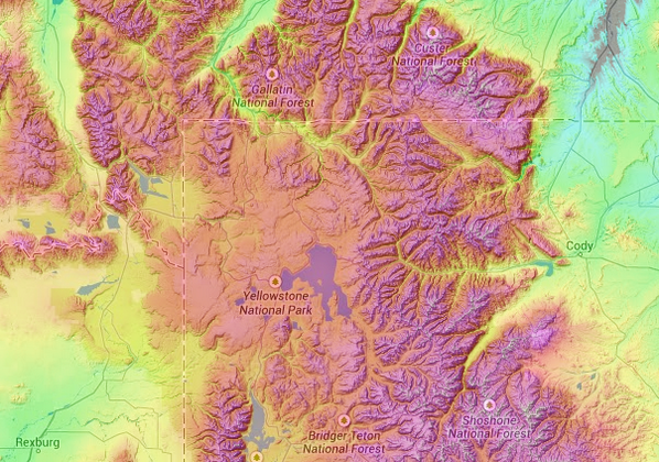 Topographic Map Of Yellowstone.Topographic Map Com On Twitter Yellowstone Caldera On Http T Co