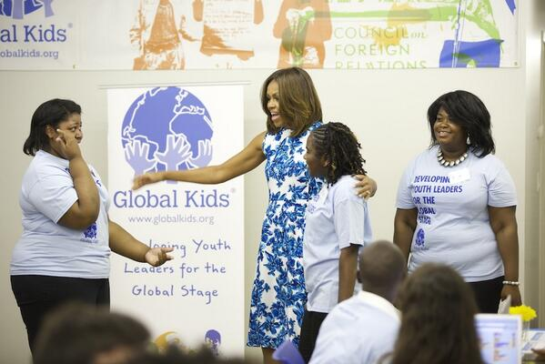 What an honor to meet @FLOTUS and share @GlobalKids work with her. Thank you Mrs. Obama! #ReachHigher #GKallday http://t.co/QxybxJj7Qc