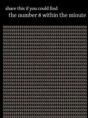 1분안에 숫자 8을 찾으면 리트윗. 눈 빠질것 같다. http://t.co/YpO4snrykt