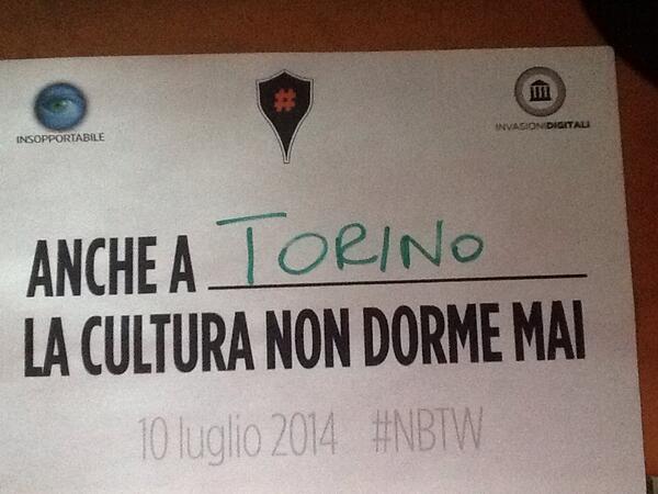 #NBTW chiama, #Torino risponde. Perché la cultura, anche quella digitale, non dorma mai. http://t.co/v9tSHUdy74