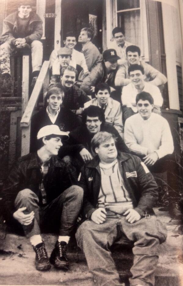 Chris Farley hanging out at the rugby house. #tbt http://t.co/qtLmjKC1Gp