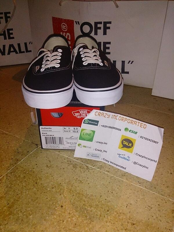 jual vans authentic black white original