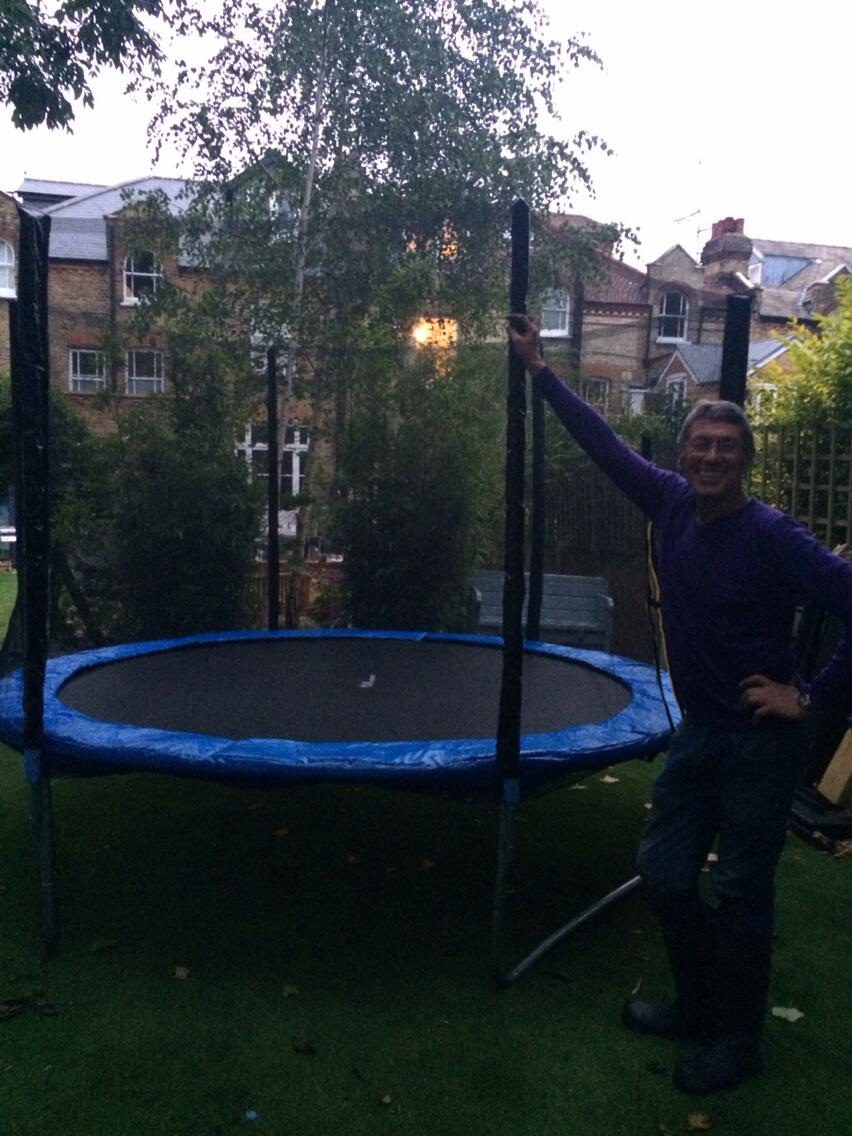 My brilliant dad and I just built a trampoline( dad did the bulk, I came in for the glory leg)...Friday nights ! http://t.co/f8ie8cGHYE