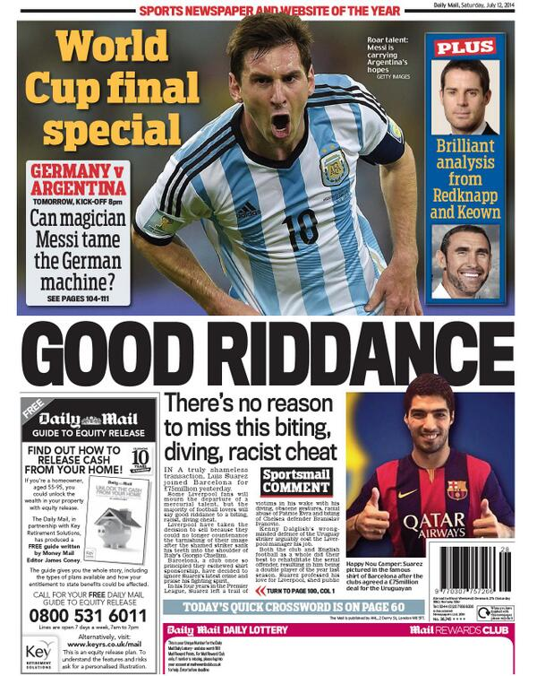Good Riddance! Daily Mail actually PRINT Diving, Biting, Racist Cheat Suarez headline on Saturdays backpage