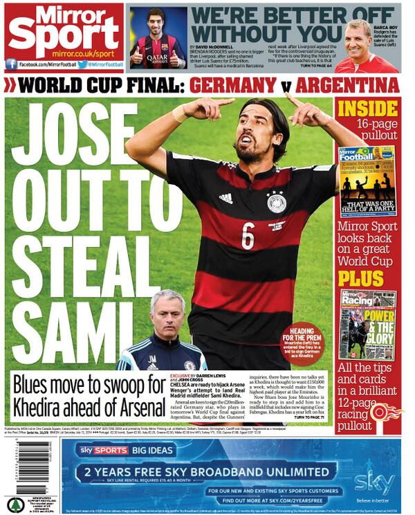 Chelsea boss Jose Mourinho planning to hijack Arsenals move for Real Madrids Sami Khedira [Mirror]