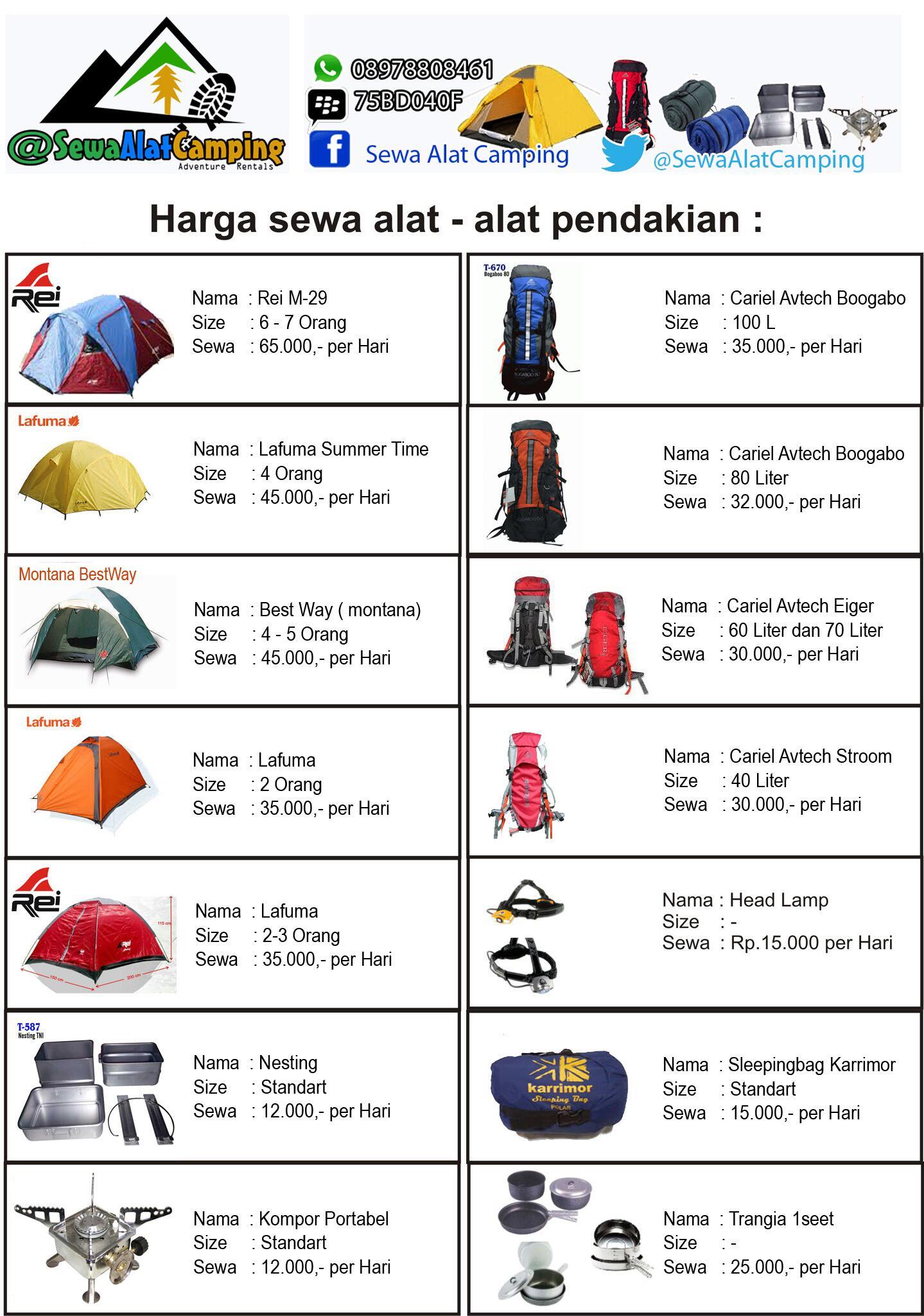 Sewa Tenda Camping على تويتر Daftar Harga Penyewaan Alat Camping Alat Gunung Outdoor Dll Yukk Di Cek Dan Di Liat Di Http T Co Bpfuijvubd Http T Co Bebnyg5pgu