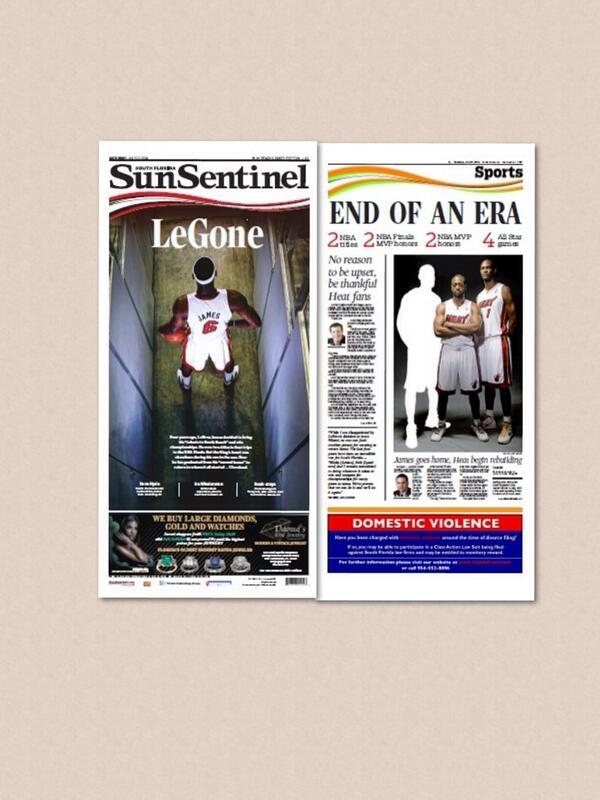 The SunSentinel newspaper and sports fronts of LeBron James returning to Cleveland. http://t.co/cF1P2ou43W http://t.co/hWr0pEXIa0