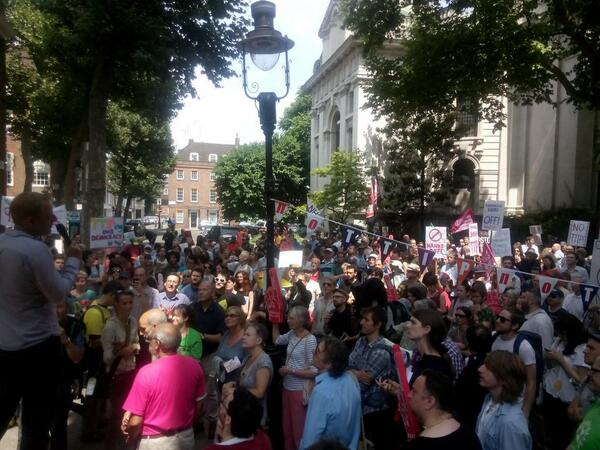 Hundreds of people here now. Come down to Smith Square to #SayNo2TTIP #noTTIP http://t.co/iPoHDADJnE